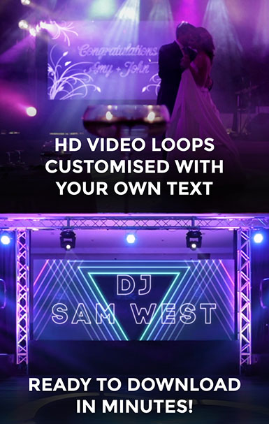 HD video loops customised with your own text. Ready to download in minutes!