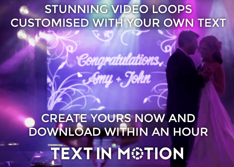 Text in Motion - Stunning video loops customised with your own text. Create yours now and download within an hour